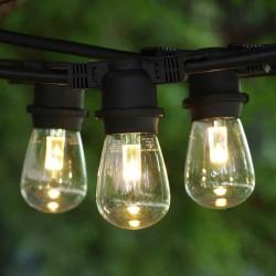 Lichterkette 10M mit 20 LED-Birnen E27, 2W, Kunststoff, Dimmbar, Schwarzes Flachkabel/Rundkabel, Verbindbar 250M, für Außen