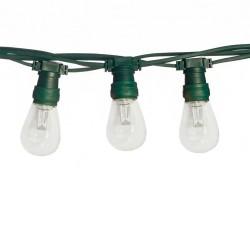 Lichterkette 10M mit 10 LED-Birnen E27, 2W, Kunststoff, Dimmbar, Grünes Flachkabel, Verbindbar 500M, für Außen