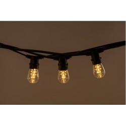 Lichterkette 10M mit 20 LED-Birnen, E27, 2W, Glas, Dimmbar, Schwarzes Kabel, Verbindbar 250M, für Außen