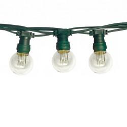 Lichterkette 10M mit 10 Lampen mit 9 LEDs, E27, 1W, Schwarzes/ Grünes Kabel, Verbindbar max. 1000M, für Außen