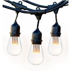 Lichterkette 15M mit 15 Pendel LED-Birnen, E27, 1W, Schwarzes Kabel, Verbindbar 650M, für Außen