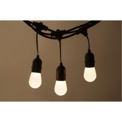Lichterkette mit Pendel 15M mit 15 Mattweiß LED-Birnen, E27, 1W, Schwarzes Kabel, Verbindbar 750M, für Außen