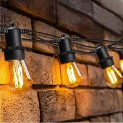 Lichterkette 10M mit 10 Incandescent Glühbirnen, S14, E27, 11W, Dimmbar, Schwarzes Kabel, Verbindbar 90M, für Außen
