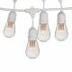 Lichterkette 15M mit 24 LED-Birnen, E27, 1W, Kunststoff, Dimmbar, Weißes Kabel mit Pendel, Verbindbar 650M, für Außen