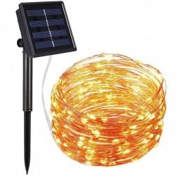 Solar Lichterkette 20M mit 200 Mini-LEDs Kupferdraht, 8 Programmen, Warm Licht, für Außen
