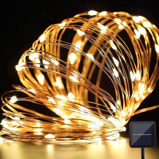 Solar Lichterkette 5M mit 50 Mini-LEDs Kupferdraht, 8 Programmen, Warm Licht, für Außen