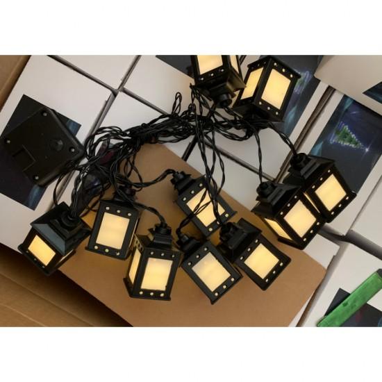 Solar Lichterkette 4M mit 10 Laternen, Schwarzes Kabel, Warm Licht, für Außen
