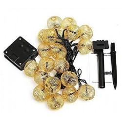 Solarlichterkette 5M mit 30 Golden Kugeln, Schwarzes Kabel, Warm Licht, für Außen