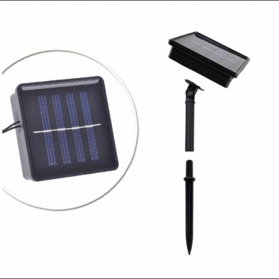 Solarlichterkette 2M mit 10 Matt Kugeln, Schwarzes Kabel, Warm Licht, für Außen