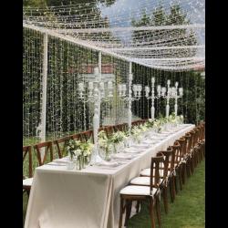 Lichtervorhang 2 × 3M mit 925 Premium-LEDs, Weißes Kabel, Warm Licht, Verbindbar 4M, für Außen