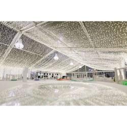 Lichtervorhang 2 × 10M mit 3200 LED, Durchsichtig Kabel, Warm Licht, Verbindbar 10M, für Außen