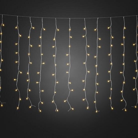 Lichtervorhang 3M × 3M mit 300 Premium-LEDs, Durchsichtig Kabel, Warm Licht, Verbindbar 15M, für Außen