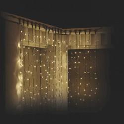 Lichtervorhang 2 × 3M mit 925 Premium-LEDs, Schwarzes Kabel, Warm Licht, Verbindbar 4M, für Außen