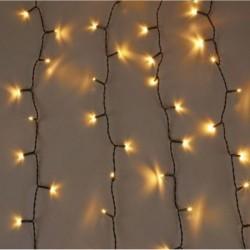 Lichtervorhang 2 × 10M mit 3200 LED, Schwarzes Kabel, Warm Licht, Verbindbar 10M, für Außen