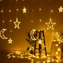 Lichtervorhang 3M mit 12 Hängelichter Mond und Sterne, 8 Programmen, Durchsichtig Kabel, Verbindbar 12M, für Außen