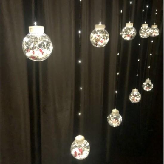 Lichtervorhang 3M mit 10 Kugel mit Weihnachtsmann, Silberkupfer Draht, 8 Programmen, Warm Licht, Verbindbar 15M, für Außen
