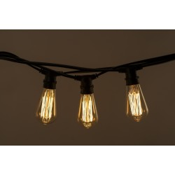 Lichterkette 10M mit 20 Große Filament Glühbirnen, E27 25W, Dimmbar, Schwarzes Flachkabel/Rundkabel, Warm Licht, Verbindbar 20M, für Außen