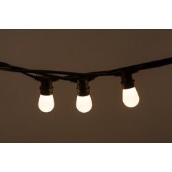 Lichterkette 10M mit 20 Mattweiß Birnen-LEDs E27 1W, Dimmbar, Schwarzes Flachkabel/Rundkabel, Warm Licht, Verbindbar 500M, für Außen