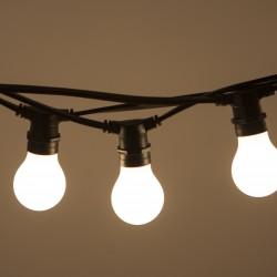 Lichterkette 10M mit 20 Mattweiß Birnen-LEDs, E27 4W, Schwarzes Flachkabel/Rundkabel, Warm Licht, Verbindbar 120M, für Außen