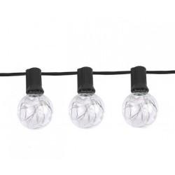 Lichterkette 8,7M mit 30 Lampen-LEDs + 3 Geschenk, E12, Schwarzes Kabel, Warm Licht, für Außen