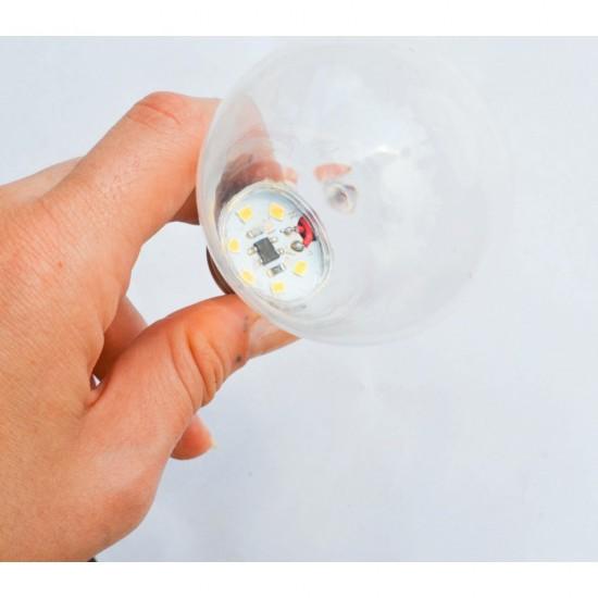 LED Lampe Transparent G60, E27, 1.5W, Kunststoff, Dimmbar, Warm Licht, für Außen
