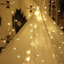 Deko Lichterkette 100M mit 800 Mini-LEDs, Durchsichtig Kabel, Warm Licht, für Außen