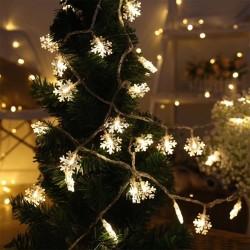 Dekorative Lichterkette 10M mit 100 Schneeflocken-LEDs, Warm Licht, Verbindbar 50M, Für Außen