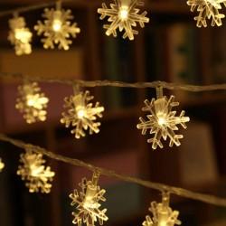 Dekorative Lichterkette 20M mit 200 Schneeflocken-LEDs, Warm Licht, Verbindbar 80M, Für Außen