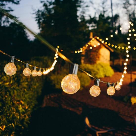 Lichterkette 3,5M mit 12 Glühlampen E12, Schwarzes Kabel, Verbindbar 14M, für Außen