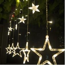 Sternvorhang Lichterkette 3M mit 12 Durchsichtig Vorhangs Lichter Sterne mit LEDs, 8 Programmen, Warm Licht, Verbindbar 15M, für Außen