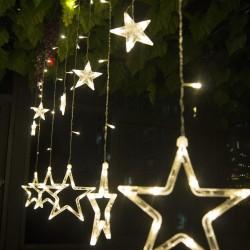 Sternvorhang Lichterkette 2,7M mit 12 Durchsichtig Hänge Sternen mit 138 LEDs, 8 Programmen, Warm Licht, Verbindbar 11M, für Außen