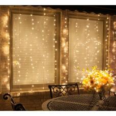 Lichtervorhang 3M × 1M mit 150 Premium-LEDs, Durchsichtig Kabel, Warm Licht, Verbindbar 15M, für Außen