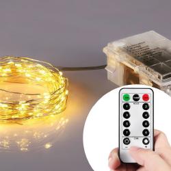 Kupferdraht Lichterkette 20M mit 200 Mini-LEDs mit 8 Programmen, Batteriebetrieb und Fernbedienung, Warm Licht, für Außen