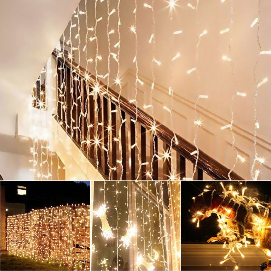 Lichtervorhang 3M × 3M mit 240 Premium-LEDs, Durchsichtig Kabel, Warm Licht, Verbindbar 15M, für Außen