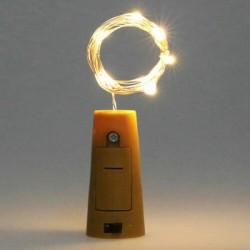 Flaschenlicht Korken mit Lichterkette 2M mit 20 Mini-LEDs, Warm Licht, mit Batterien enthalten
