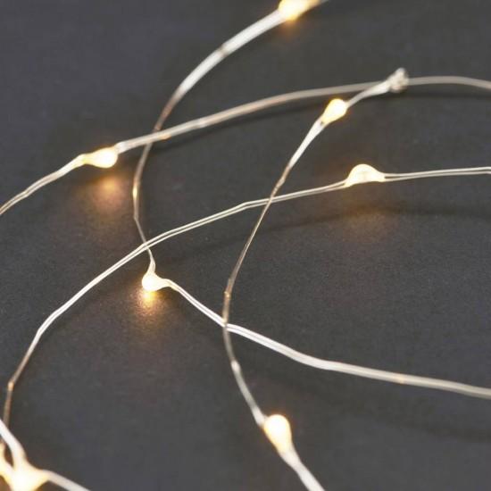 Silberdraht Lichterkette 5M mit 50 Mini-LEDs, 10 Haken und Batteriebetrieb