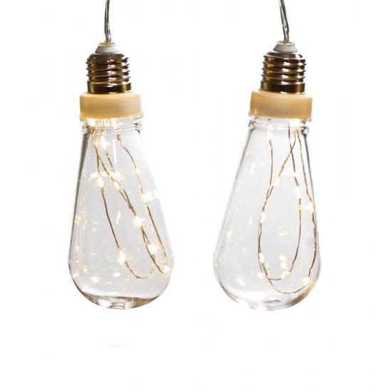 Deko Lichterkette 3,6M mit 10 Glühbirnen mit 100 Mini-LEDs, Durchsichtig Kabel, Warm Licht, Strombetrieben, für Außen