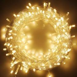 Deko Lichterkette 50M mit 400 Mini-LEDs, Durchsichtig Kabel, Warm Licht, für Außen