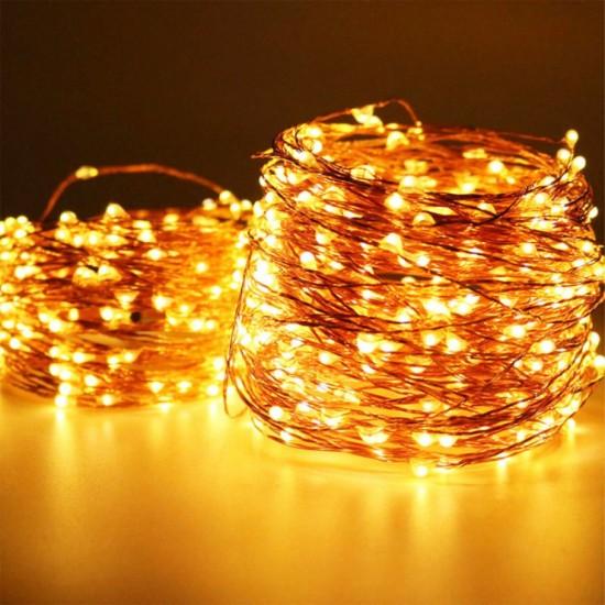 Kupferdraht Lichterkette 100M mit 1000 LEDs, 8 Programmen mit Transformator und Fernbedienung, Warm Licht, für Außen