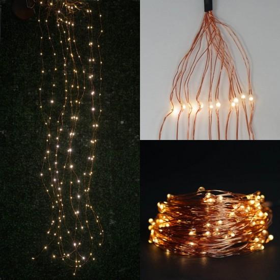 Kupfer Wasserfall Lichterkette 2M mit 300 Mini-LEDs, Dimmbar Licht mit Fernbedienung, Warm Licht, für Außen