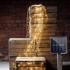 Solar Wasserfall Lichterkette 2M von Kupfer mit 300 Mini-LEDs, Warm Licht, für Außen