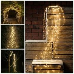 Kupfer Wasserfall Lichterkette 2M mit 300 Mini-LEDs mit Batterien und Fernbedienung, Warm Licht, für Außen