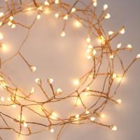 Kupferdraht Tannengirlande 10M mit 300 Mini-LED, Warm Licht, für Außen