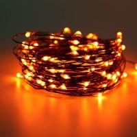 Schwarz-Kupferdraht Lichterkette 10M mit 100 Mini-LEDs, Oranges Licht, für Außen