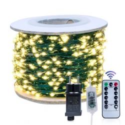 Kupferdraht Lichterkette 10M mit 100 LEDs, Grün Kupfer mit Transformator und Fernbedienung, Warm Licht, für Außen