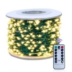 Kupferdraht Lichterkette 30M mit 300 LEDs, Grün Kupfer mit Transformator und Fernbedienung, Warm Licht, für Außen