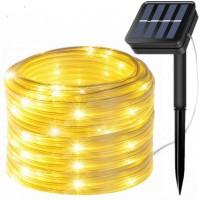 Solar Lichtschlauch Lichterkette 5M mit 50 LEDs, Warm Licht, für Außen