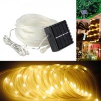 Solar Lichtschlauch Lichterkette 10M mit 100 LEDs, 2 Modi Röhrenlicht, Warm Licht, für Außen