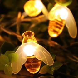 Solar Lichterkette 2,5M mit 20 Bienchen-LEDs, Dunkelgrün Kabel, Warm Licht, für Außen