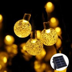 Solar Lichterkette 7M mit 50 LEDs Kugeln, Dunkelgrün Kabel, Warm Licht, für Außen